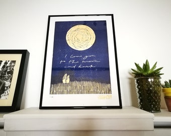 Moon & Hares - I love you to the moon and back - A3 Limited Edition Framed Lino Block Print