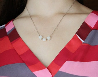Dainty Mother of Pearl Square Cube .925 Sterling Silver Delicate Chain Necklace Modern Everyday Jewelry Christmas Wedding Bridesmaid Gift