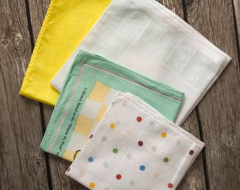 4 vintage handkerchiefs, wedding hankie, flowergirl ladies hankies, antique handkerchief cream yellow