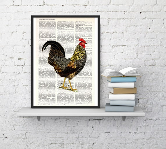 Chicken, Wall art, Wall decor, Digital prints animal, Giclée, Vintage Book sheet, Nursery wall art, Prints, Wholesale , BPAN127