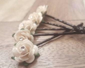 5 Custom Flower Hair Pins | Bridal Hair Pins | Wedding Hair Pins | Hair Accessories | Flower Bobby Pins | Floral Hair Pins | Hair Accessory