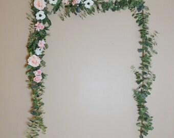 Eucalyptus Garland, Wedding Garland, Flower Backdrop, Eucalyptus, Wedding Arch, Boho Wedding, Pink Flower Garland, Silk Garland, Boho Flower