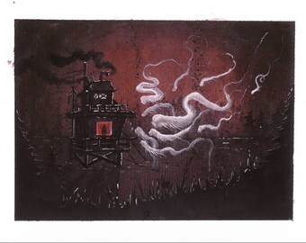 ORIGINAL 'Night visitors of the red window', OOAK Fantasy Original Watercolor Painting, Gothic, Dark, Misterious, Forest, ghosts