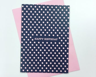 Black and Pink Polka Dot Birthday Card