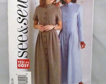 See and Sew 4262 Easy Misses/Misses Petite Dress Button Front Size 20-22-24 UNCUT