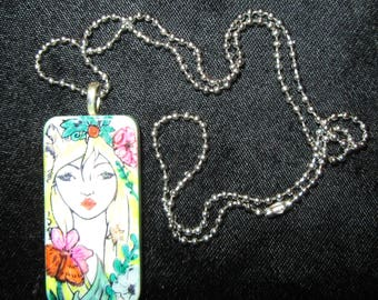 Altered Art DOMINO EMBELLISHED PENDANT -Alcohol Ink Modern  Painted Lady  with Ball Chain