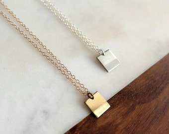 Square Necklace / Small - Handmade Delicate Gold or Silver Necklace, Geometric, Layering Necklace, Short Necklace, Gifts for Her