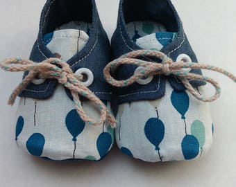 """Shoes / Sneakers in cotton """"Blue balloon"""""""
