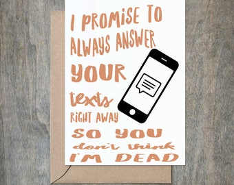 Answer Texts. Funny Mother Birthday Card. Funny Father Birthday Card. Funny Mother's Day Card. Funny Mom Birthday Card. Funny Father Day