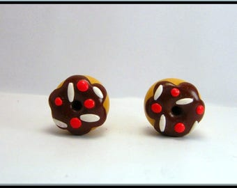 Earrings donuts polymer clay chocolate cake.