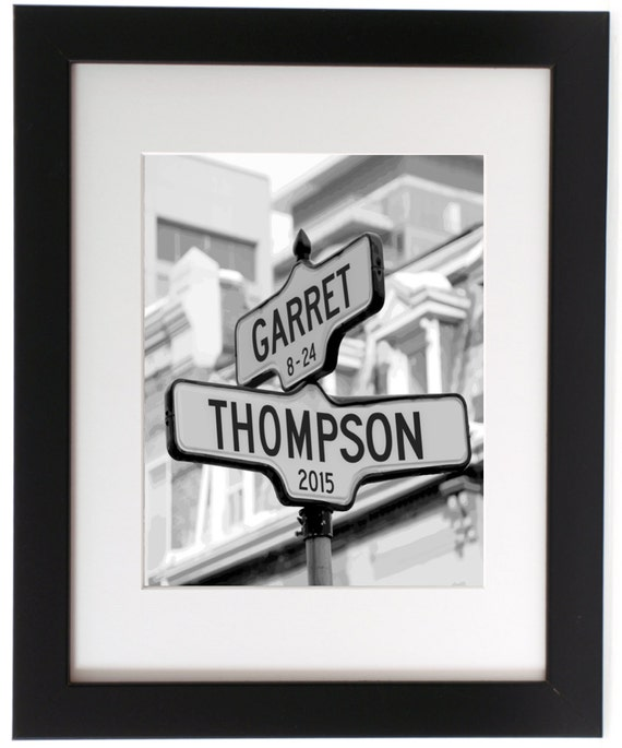 Personalized Intersection Street Sign Gift Names Or Address Custom For Anniversary Wedding Engagement 8x1011x1416x20 18x24 24x36