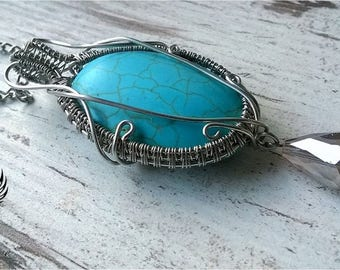 Turquoise pendant necklace silver plated