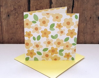Flower Mini Cards, Yellow Flower Cards, Small Note Cards, Flower Gift Tags, Blank Note Cards, Mini Envelopes, Set of 4
