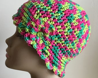 Women's crochet hat, summer / spring, COTTON/SILK, chemo hat, pink, green, removable flower, Ready to ship.  S47