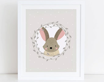 Rabbit Art Print, Rabbit Printable, Woodland Nursery Art Print, Instant Download, Digital Art Print, Woodland Animals Nursery Wall Decor