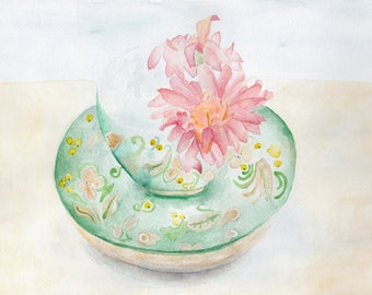 Original Painting Watercolor Art Still life A Khokhlomacup with a Gerbera Flower