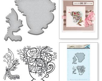 Spellbinders Teacup Stamp and Die Set from the Spring Love Collection by Stephanie Low SDS-064