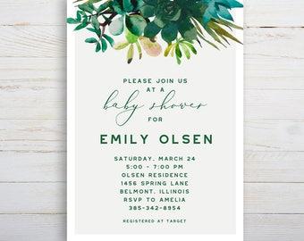 Succulent Baby Shower, Printable Invitation