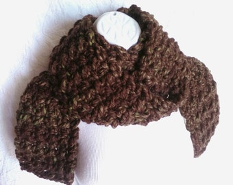 Brown Crocheted Scarf Wool Blend - Warm Winter Scarf - Handmade Knit Scarf - Great Gift