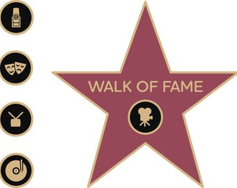Walk of Fame Star, Walk of Fame SVG, Walk of Fame Clipart, Digital Cut File, Hollywood, PNG File, Card Making, Scrapbooking