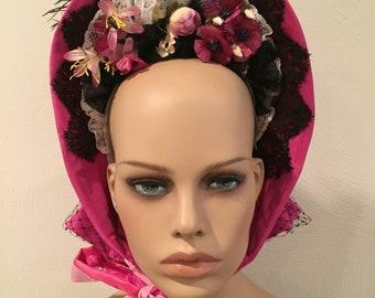 Ladies 1860's Civil War Bonnet in Pink Silk