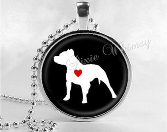 PIT BULL Necklace, I Love My Pit Bull, Pit Bull Love, Pit Bull Jewelry, Pit Bull Pendant, Pit Bull Charm, Glass Bezel Photo Art Necklace