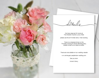Wedding information template, printable enclosure card, wedding event details, 3.5 x 5 inch