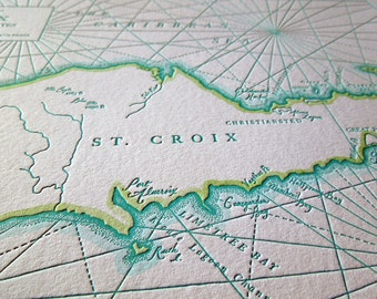 st croix the virgin islands letterpress printed map