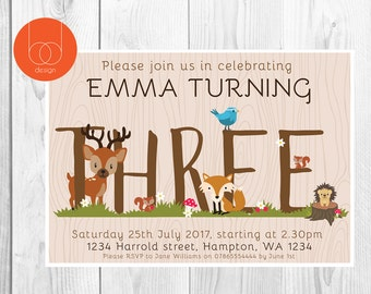 Woodland Animals Third Birthday Invitation