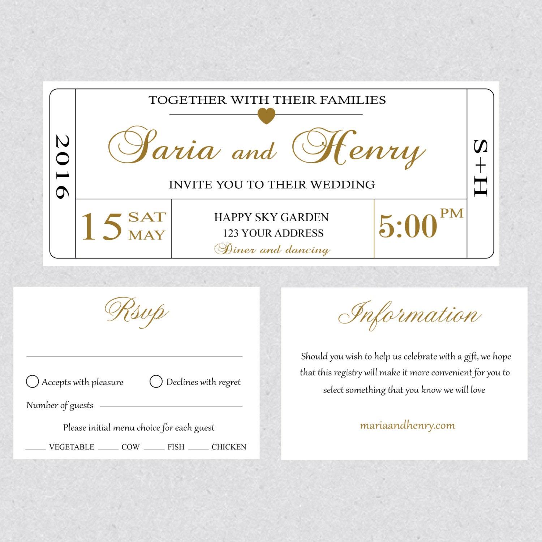 Druckbare Hochzeit Einladungskarte Ticket Vorlage