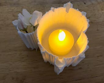 Fractal Mandelbrot Set 3D Printed Vase, Box, Planter, Flameless Candle Holder White Plastic 2 Styles