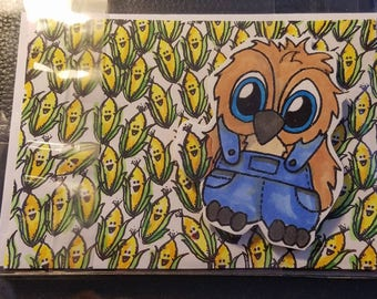 Handmade Farmer Brentwood Owl Corn Blank Inside Happy Birthday Anniversary greeting card glitter coffee with matching envelope