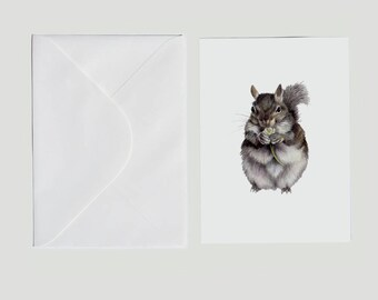 Squirrel Greeting Card, Squirrel Art, Woodland Animal Print