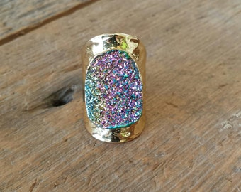 Rainbow Titanium Druzy Ring