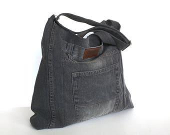 Recycled denim bag,Jean cross body bag, Large school bag, Grey jean bag, Denim cross over purse, Jean college bag, Eco friendly tote