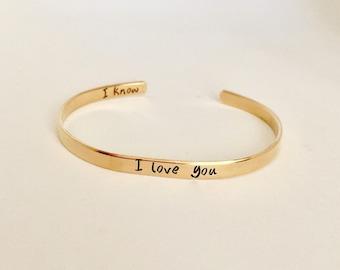 "Personalized hand stamped ""I love you I know bracelet custom cuff bracelet Valentine's Day gift"