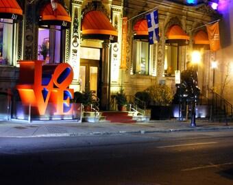 "Robert Indiana Love Sculpture in Montreal Print titled ""Love is a Light"" Fine Art Photograph: 5x7 8x10 Urban Landscape"
