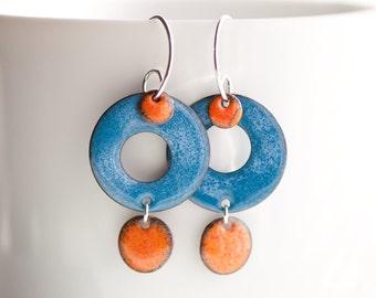 Geometric Earrings, Minimalist Jewelry, Copper Enamel, Funky Orange and Blue, Dangle Earrings, Modern Earrings, Disc Earrings, Hippie Boho