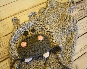 Baby Hippo Costume - Baby Costume - Hippopotamus Hat and Pants Set - Baby Hat - Halloween Baby Costume Set  - by JoJosBootique