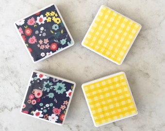 Floral magnets, spring magnets, spring gifts, spring time, fun gifts, mother's day gifts, mother's day, gifts for her, tile magnets