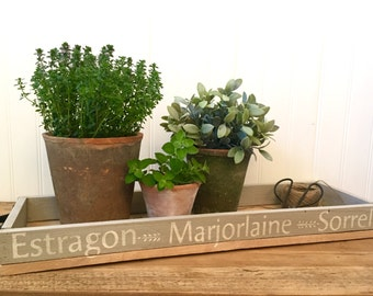 Rustic Reclaimed Wood Decorative French Farmhouse Tray Grey and Natural with French Herbs