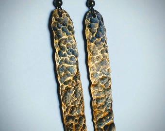 Hammered Brass Earrings / Long Dangle Brass Earrings / Patina / Hammered Brass / Brass Jewelry