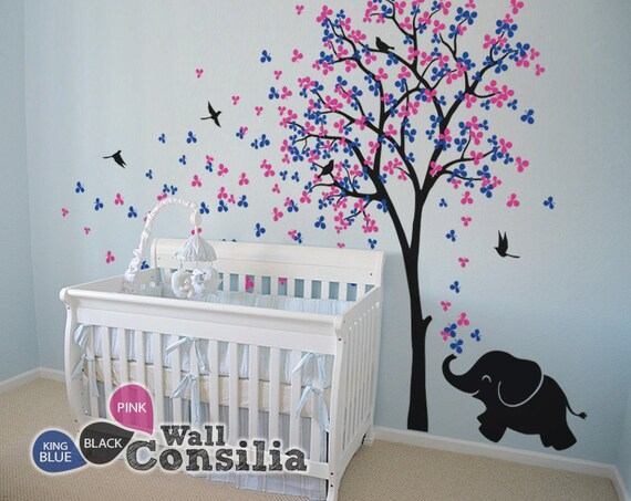 baby nursery wall decals tree wall decal elephant decal