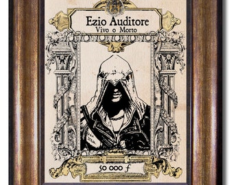 Assassin's Creed - Vintage style wanted poster - Ezio Auditore Vivo o Morto - Multiple Sizes 5x7, 8x10, 11x14, 16x20, 18x24, 20x24, 24x36