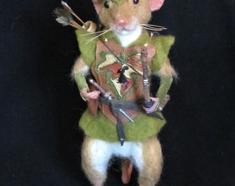Needle Felted Mouse/OOAK Mixed Media Mouse/Handmade Art Doll/Rodent Hood