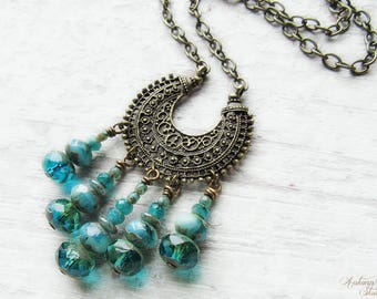 OCEAN MOON .:. Bohemian Moon Vintage Brass necklace with picasso czech glass, ornate filigree crescent moon, long chain, sea, blue, green