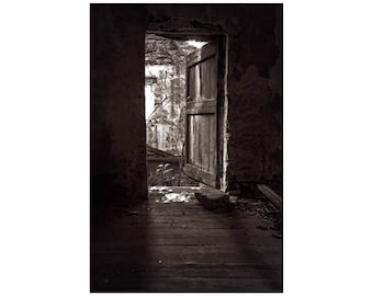 Mysterious Door, French Stone House, Black and White Photography, Windows and Doors