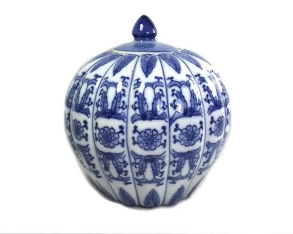 Vintage Blue and White Pumpkin Ginger Jar