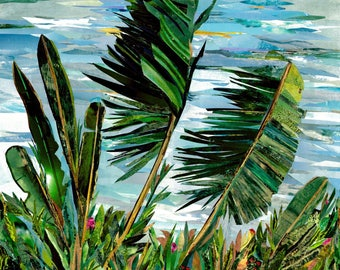 Palms in the Wind-Paper Collage