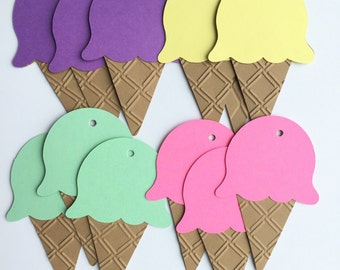 Embossed Ice Cream Cone Tags - Set of 6